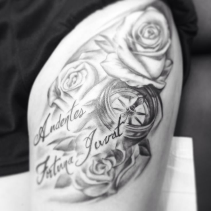 thigh tattoo fortune favors the bold audentes fortuna