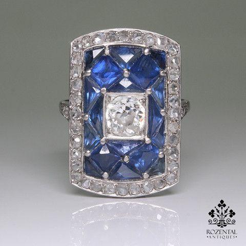 Antique Art Deco Platinum 1.75ctw. Diamond & Sapphire Ring