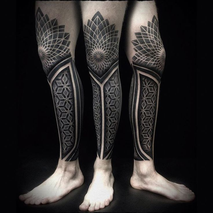 leg sleeve tattoo covering a calf