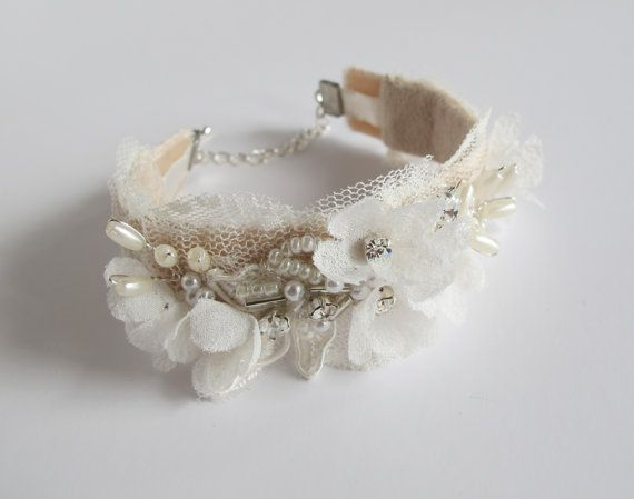 Bridal handmade bracelet wrist cuff with hand pressed silk flowers, beaded lace on a soft blush velvet band by LucyFisherDesigns