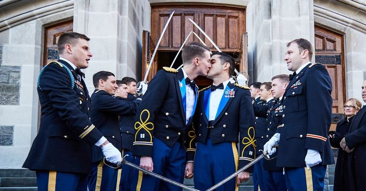 Captains Daniel Hall and Vincent Franchino, both active-duty Apache helicopter pilots, are married at West Point.