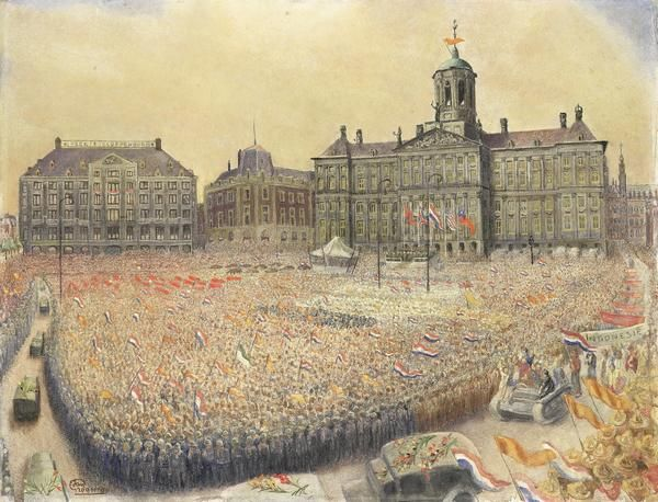 Happy Dutch #LiberationDay! This painting from @rijksmuseum shows Amsterdam as it celebrated in 1945.