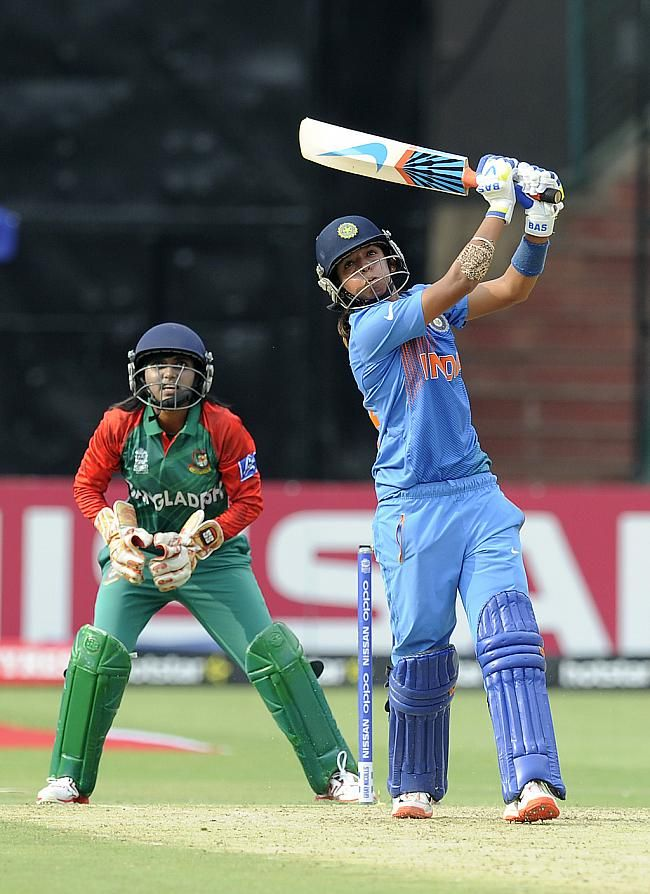 Harmanpreet Kaur took over after Mithali Raj's dismissal, dealing in regular big hits.