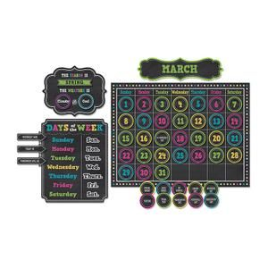 Chalkboard Brights Calendar Bulletin Board Display Set | TCR5615