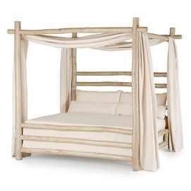 Rustic Canopy Bed 4092  Rustic  Folk, Traditional, Transitional, Organic, Upholstery  Fabric, Wood, Bed by La Lune Collection