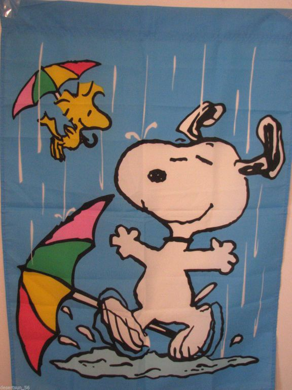 Snoopy & Woodstock Dancing in the Rain Flag | the Snoopy Collectionary