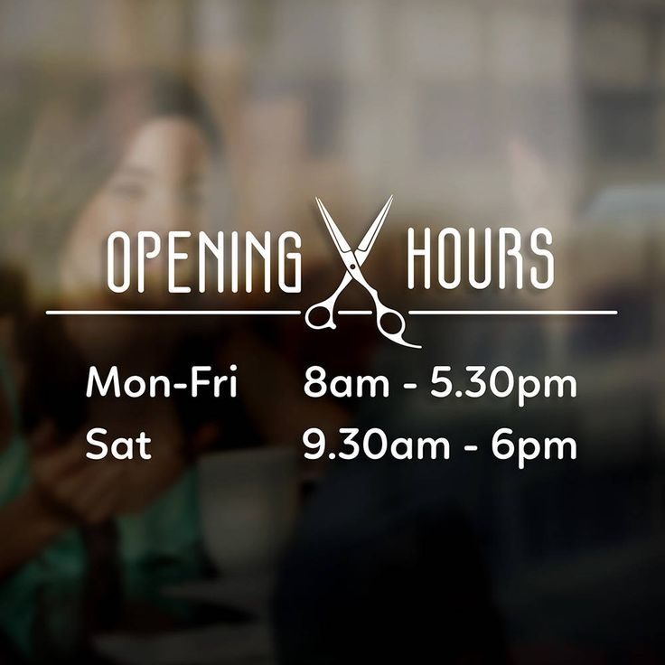 Hairdresser opening times hours sign sticker window door vinyl decal business hours decal sign opening hours