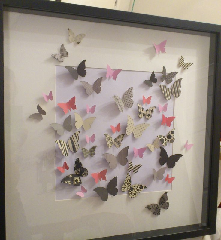 Butterfly 3d wall art framed paper butterflies for Paper art butterfly