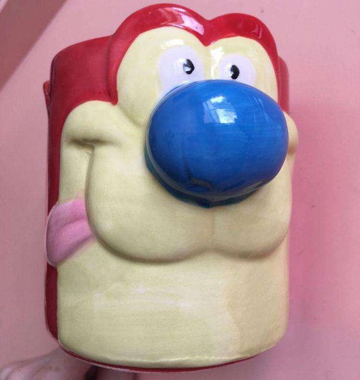 Nickelodeon Nick Box Ren and Stimpy Ceramic Figural Coffee Mug Cat Subscription #Viacom