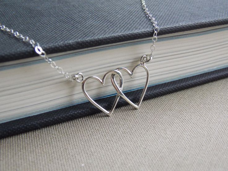 Interlocking Silver Heart Necklace, Mothers Necklace, Two Hearts Necklace, Couples Necklace, Heart Jewelry, Double Heart Necklace, Wife Gift by SilverLotusDesigns on Etsy