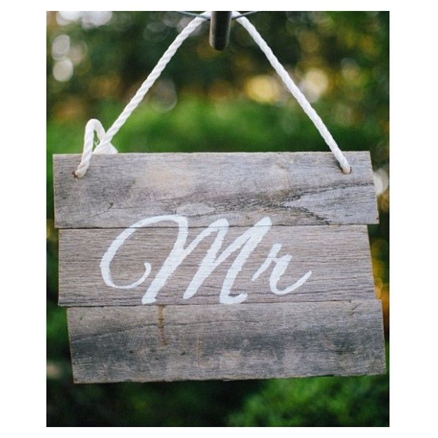 Our rustic fence paling 'Mr' chair sign is oh-so-perfect for your wedding! For hire details contact Sue and Tessa at willowandvinehire@gmail.com #willowandvine #mrchairsign #wedding #reception #prophire #style #rustic #handmade #party #eventdecor