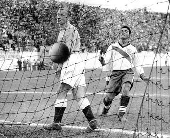 June 29,1950, Estádio Independência, Belo Horizonte, Brazil, 1950 World Cup 1st round.  America defeats England in a group match, 1-0, on a header by Haitian forward Joe Gaetjens in the first half.  England was one of the top sides in the world.  The American team was made up of part-time players.