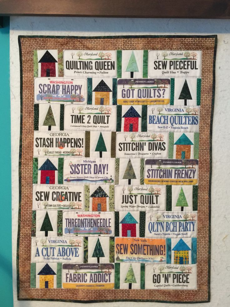 Row by row license plate wall hanging quilt