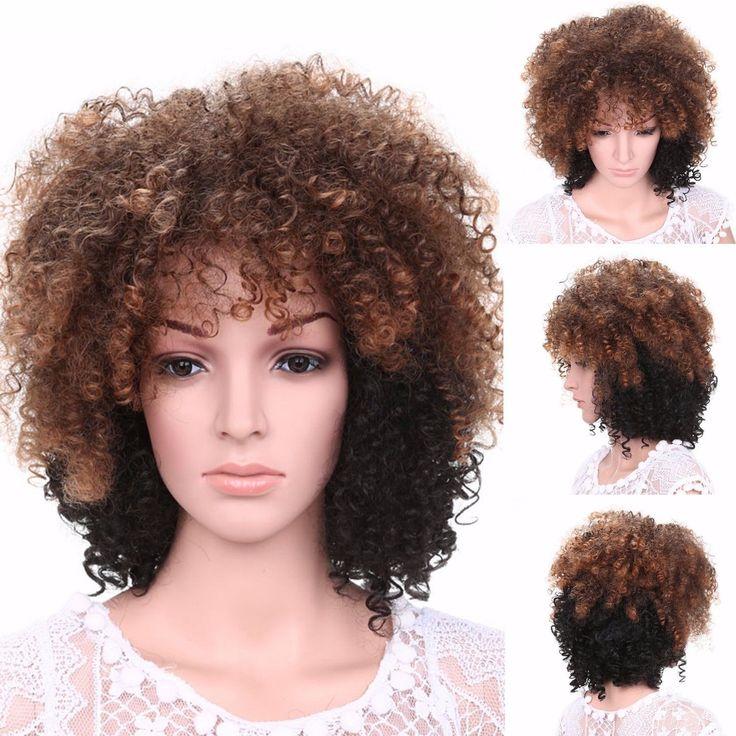 Mode Damen Braun Schwarz Mittellange Gewellt Lockiges Haar Kinky Volle Perücken in Beauty & Gesundheit, Haarpflege, Perücken & Haarverlängerungen   eBay!