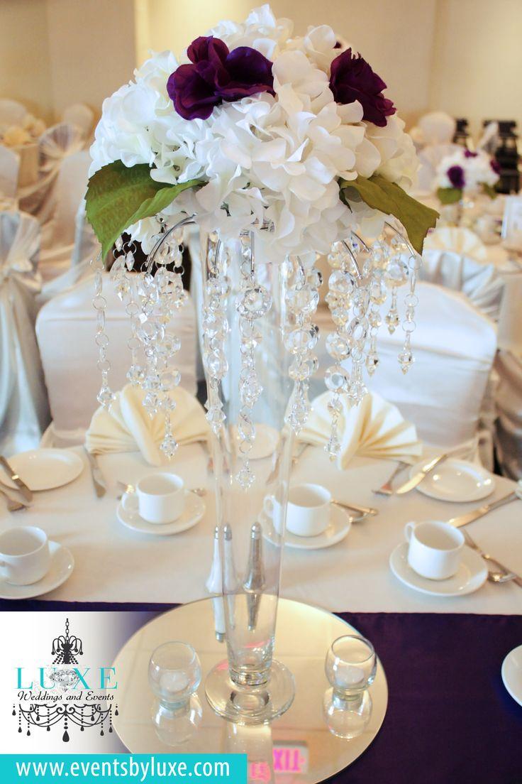 Ivory and purple wedding decor, hydrangea centerpieces, hydrangea with roses centerpiece, tall wedding centerpiece, crystal wedding centerpiece, pilsner vase centerpiece, tall hydrangea centerpiece, ivory and purple wedding reception
