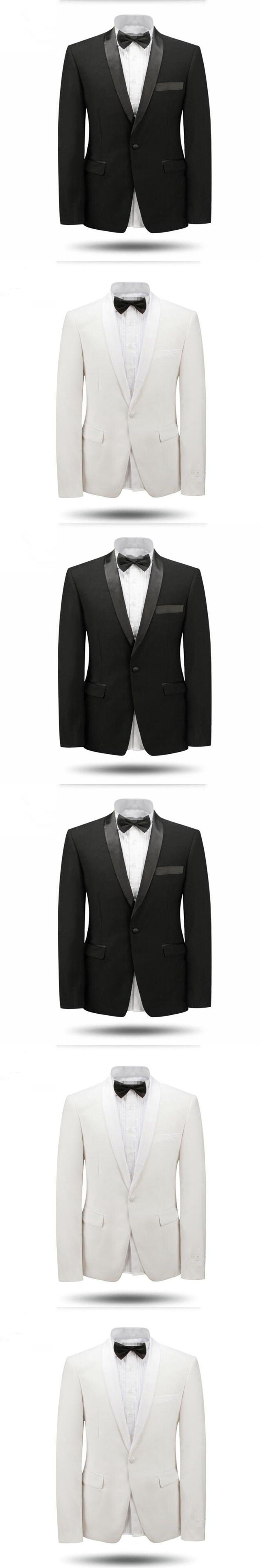 White and black men suits jacket shawl collar wedding tuxedos jacket custom made fashion formal business suits jacket