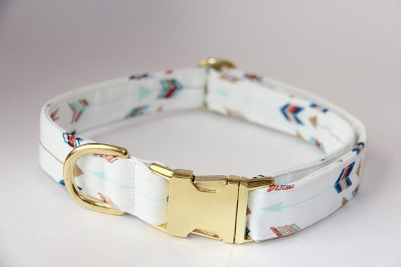 Arrow Tribal Dog Collar Gold Hardware by BeautifulMutts on Etsy