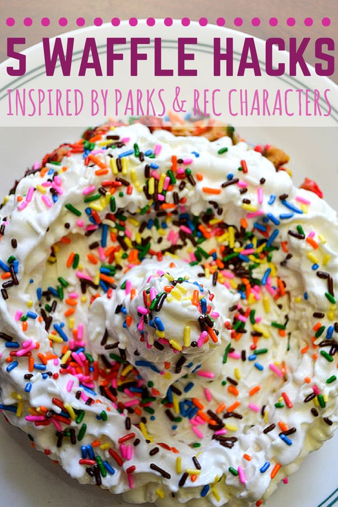 """Transform any waffle into the breakfast of your dreams in just minutes, as inspired by characters from NBC's """"Parks and Recreation."""""""