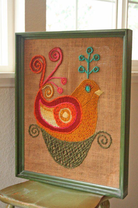 Mod •~• vintage crewel bird wall hanging