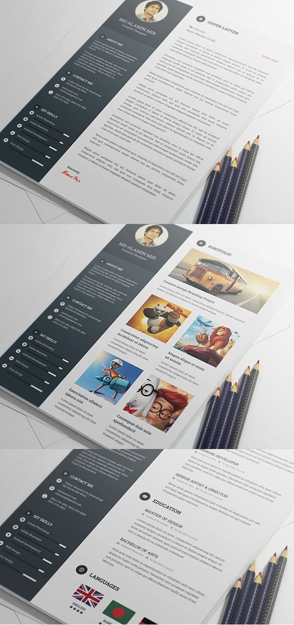 Free Resume Template with Portfolio u0026 Cover