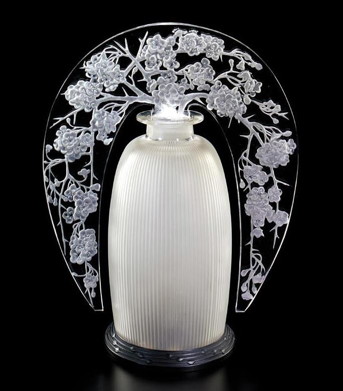 """A René Lalique glass lamp entitled """"Pommier du Japon"""", model introduced in 1920."""