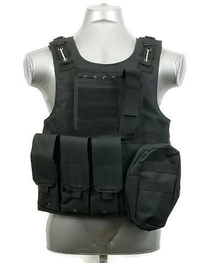 Black Tactical Vest Molle Modular Adjustable Spare Magazine Carrier Chest  Plate  CSOutdoor 75a19b7901b