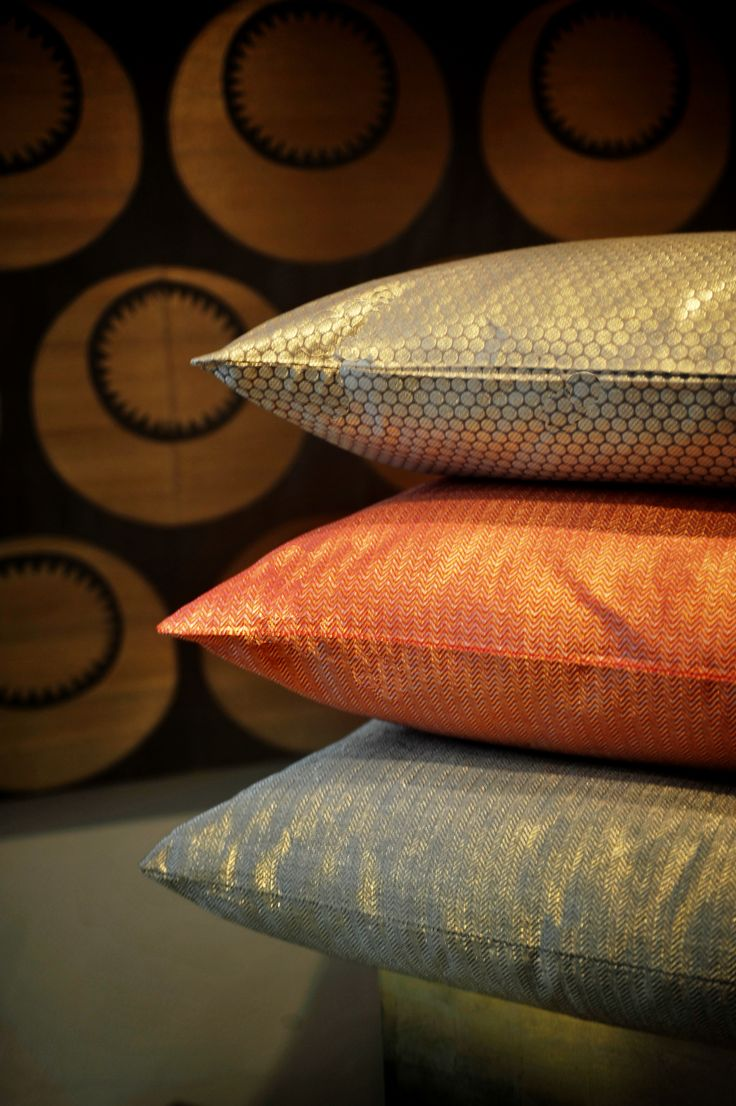 Silk fabric cushions and panels