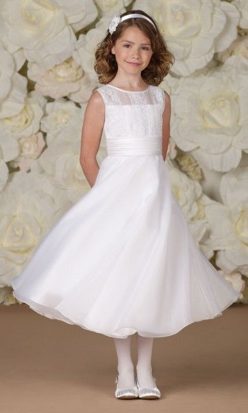 Catholic First Communion Dresses | First Communion Dress with Lace Appliqued Bodice from Catholic Faith ...
