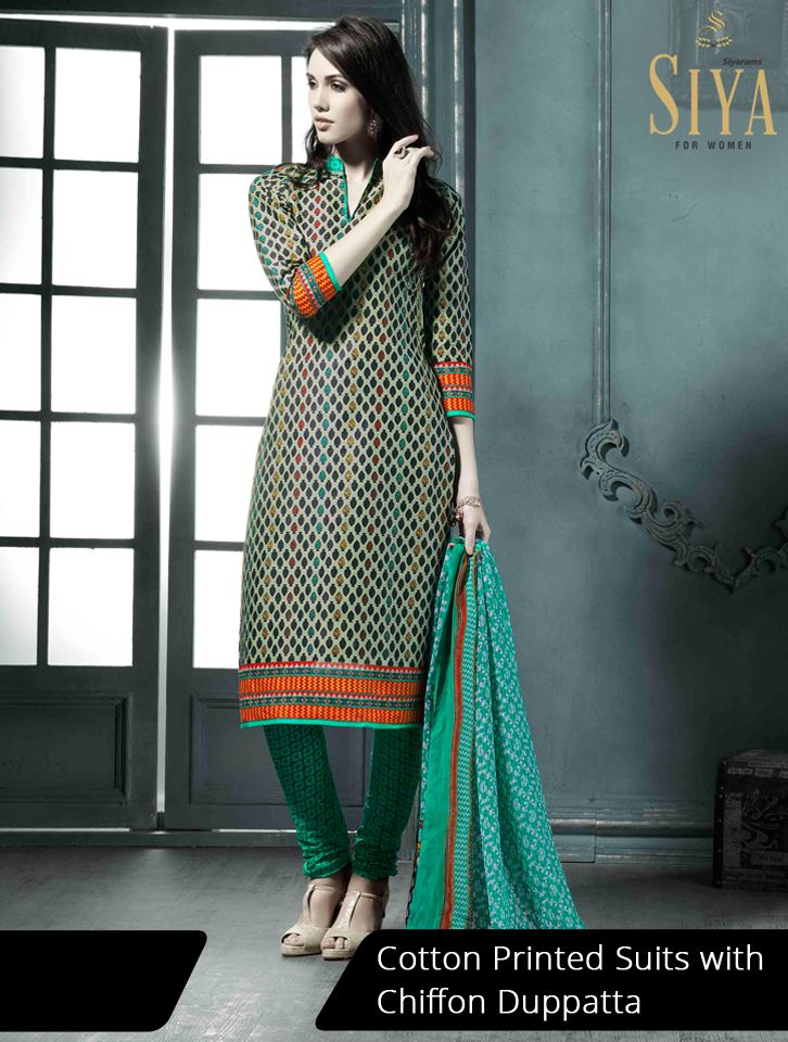 Gorgeous cotton suits with geometric prints priced reasonably #Dress #material #Ethnic #Siya #Women #fashion
