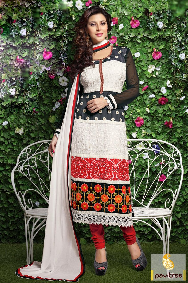 The gorgeous black red and white santoon embroidery salwar suit looks beautiful with its multi thread embroidery work, nice flower butti work and printed work.