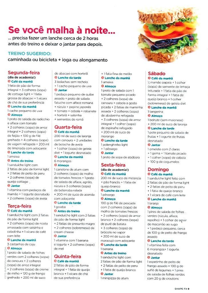 Cardápio dieta Revista Shape o que comer antes de malhar se você malha à noite