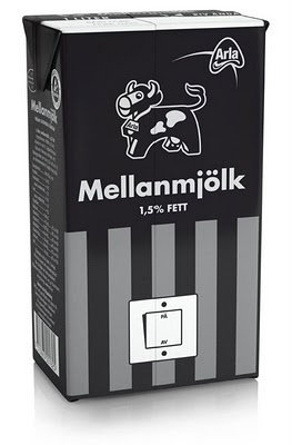 The Scandinavian dairy brand Arla Foods supports WWF by selling specially designed milk black packaging with on-pack information about Earth Hour. Design by the Swedish agency Milk.