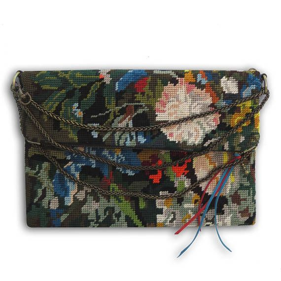 Zipper Fold over Cross body with French Antique needlepoint :