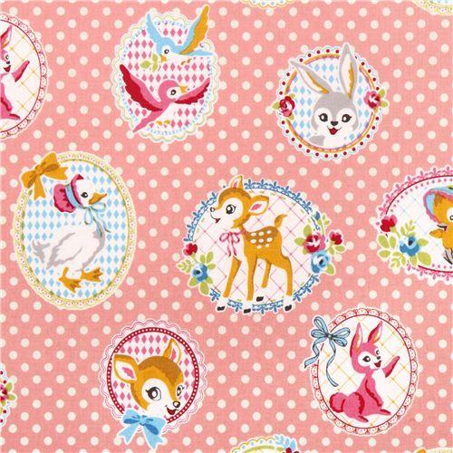 pale pink animal portrait fabric from Kokka Japan 1