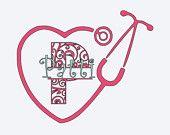 Personalized Stethoscope Decal Acrylic Tumbler, Custom Swirl Split Alphabet Decal, Tumbler Name Initial decal, Monogrammed Stethoscope decal