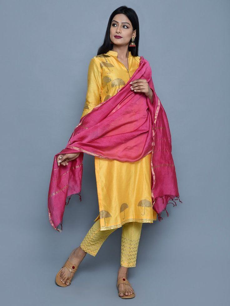 Yellow Pink Chanderi Cotton Block Printed Suit - Set of 3