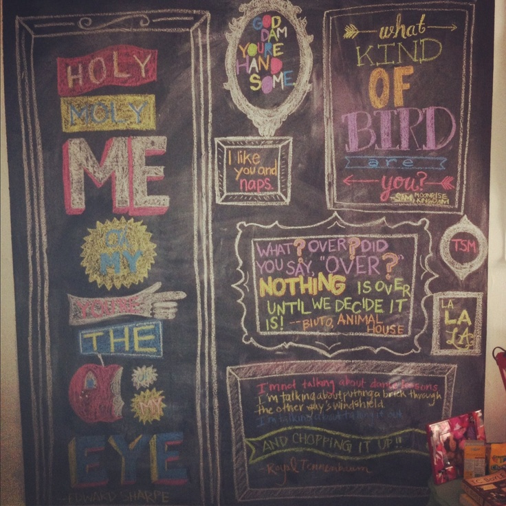 Getting Maura to do my blackboard wall!