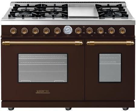 """RD482GCMB 48"""" DECO Series Freestanding Natural Gas Range with 6 Sealed Burners 2 Gas Ovens Electric Griddle and Convection in Brown Matte with Bronze Accent"""