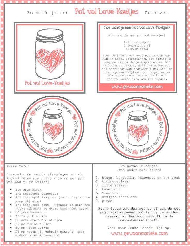 """Vandaag deel ik met jullie een printable met daarop de labels voor een """"Pot vol Love-Koekjes"""". Wil je je geliefde met Valentijn een leuk en persoonlijk cadeau geven, denk dan aan de&#8…"""