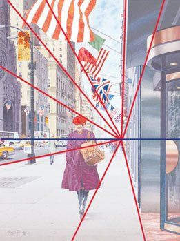 One point perspective is the simplest form of linear perspective. The blue line indicates the horizon line. The red lines show how all the d...
