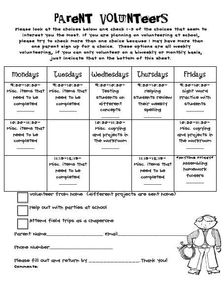 Classroom Volunteer Ideas : Back school parent volunteers