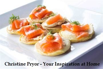 Smoked Salmon Blinis. Makes about 60 bite-sized servings. Pancake mix includes self-raising flour, YIAH Dill & Onion Dip Mix, egg and milk. YIAH Dill & Onion Dip Mix is mixed with cream cheese, then topped with smoked salmon. For the recipe, visit my Facebook page - www.facebook.com/ChristinePryorYIAH