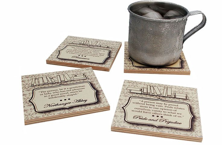 Flox 'Jane Austen' Wooden Coasters