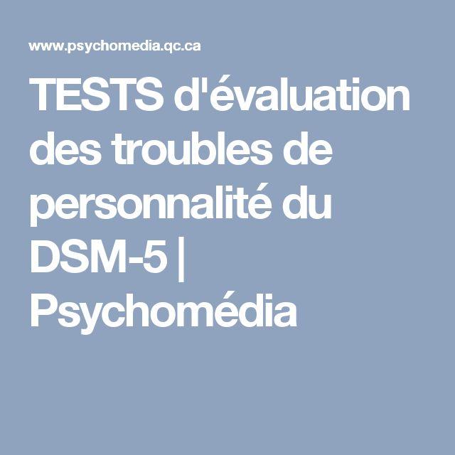 TESTS d'évaluation des troubles de personnalité du DSM-5 | Psychomédia