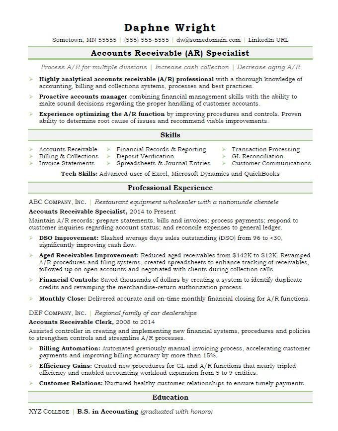 Accounts receivable resume sample resume examples Pinterest - accounts payable spreadsheet template