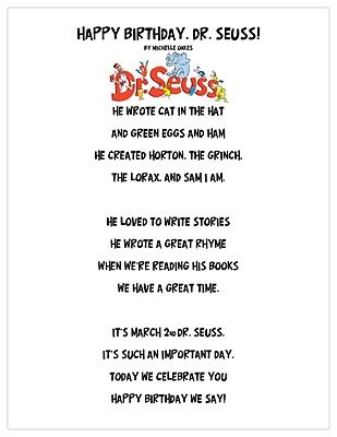 "Poem, ""Happy Birthday, Dr. Seuss"" (from Just 4 Teachers: Sharing Across Borders)"