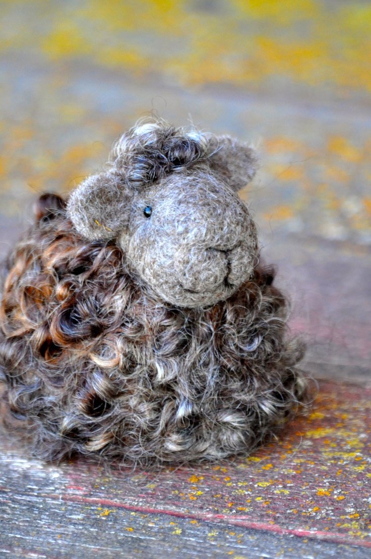 Needle Felted Sheep - Natural brown and grey wool lamb - needle felted animals. $40.00, via Etsy.