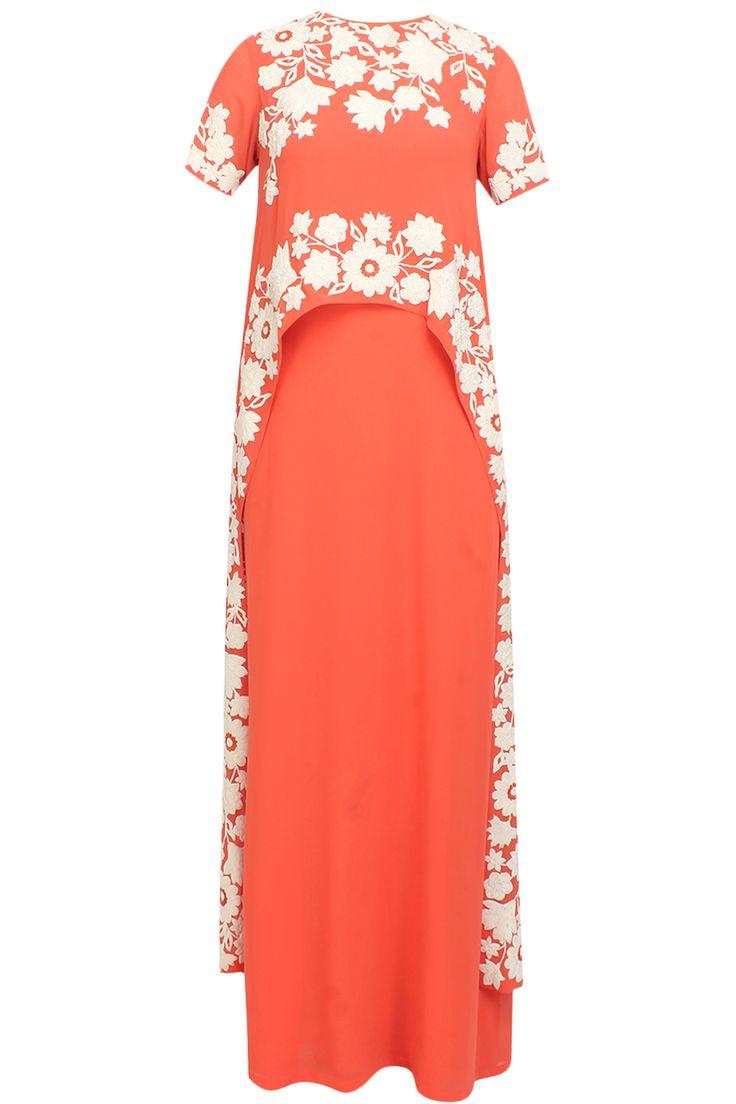 Namrata Joshipura presents Reef orange trellis kaftan dress available only at Pernia's Pop Up Shop.