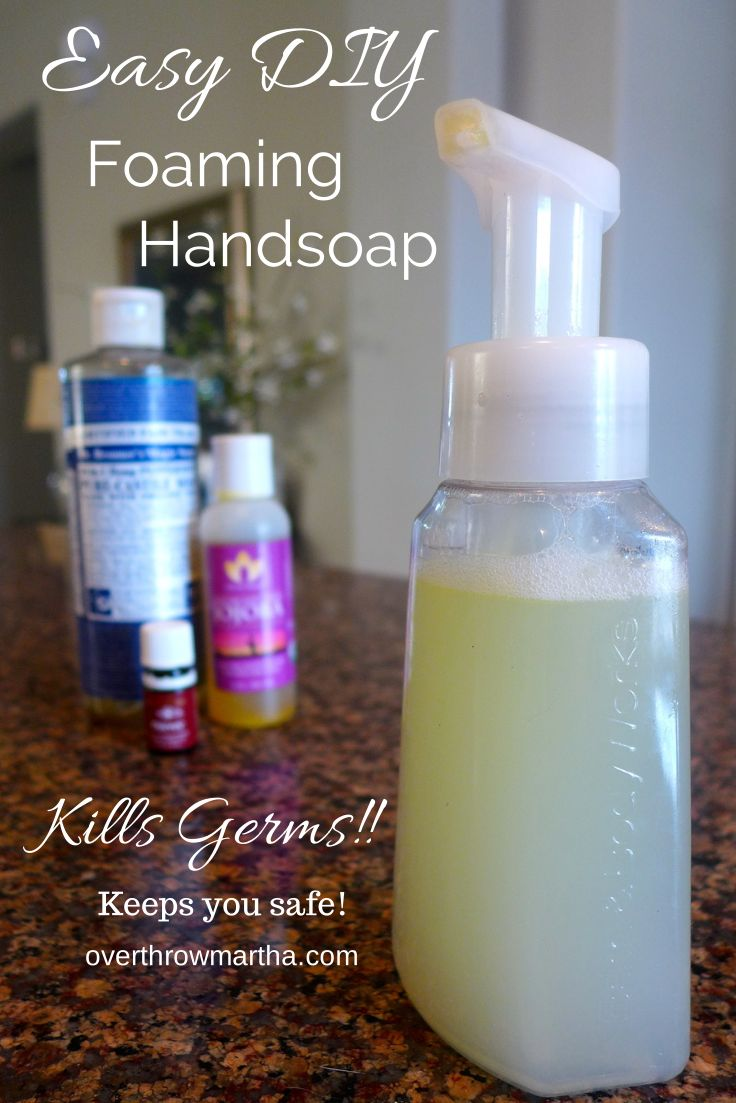 Easy DIY Antibacterial Foaming Handsoap. #DIY #Easy   [1 foam soap pump,   1 c distilled or filtered water,   2 TBSP Castile Soap,   1/4 tsp carrier oil (Jojoba, almond, grapeseed, olive, or any carrier oil that stays liquid at room temperature),  10 drops Thieves Essential Oil]