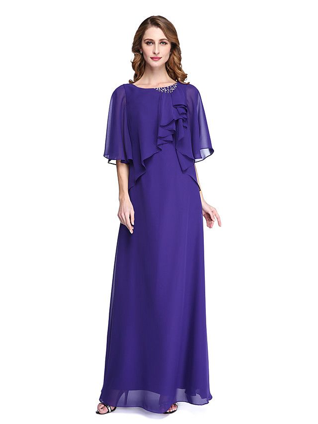 LAN TING BRIDE Sheath / Column Mother of the Bride Dress - Open Back Elegant Floor-length Half Sleeve Chiffon with Beading - USD $99.99 ! HOT Product! A hot product at an incredible low price is now on sale! Come check it out along with other items like this. Get great discounts, earn Rewards and much more each time you shop with us!